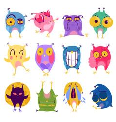 Emotion owl stickers set vector