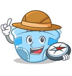 explorer baby diaper character cartoon vector image