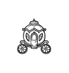 fairytale carriage hand drawn sketch icon vector image