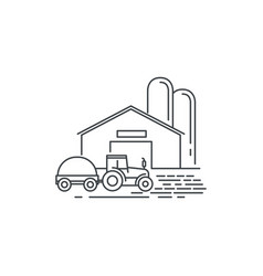 farm barn and tractor line icon outline vector image