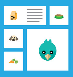 flat icon pets set of rabbit meal nutrition box vector image