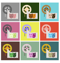 Flat icons set film mask vector