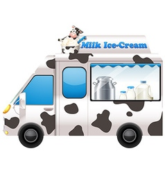 Food truck selling milk ice-cream vector image