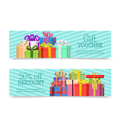 gift vouchers with box bow ribbons creative vector image