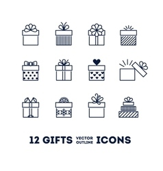 Gifts outline icons set for celebrating card vector