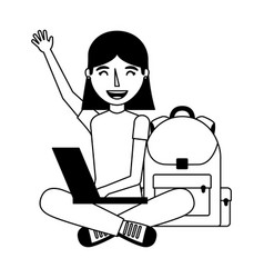 girl with laptop and backpack school vector image
