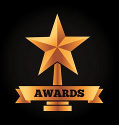 gold star trophy award victory ribbon vector image