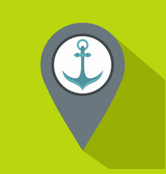 Gray map pointer with anchor symbol icon vector