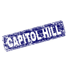 Grunge capitol hill framed rounded rectangle stamp vector