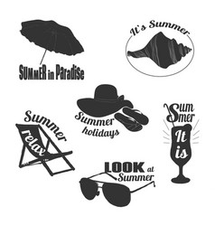 Hand drawn summer emblems set vector