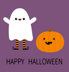 happy halloween child kid wearing ghost spirit vector image