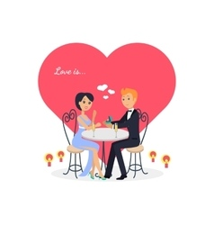 Happy Valentine Day Couple Sitting at Table vector