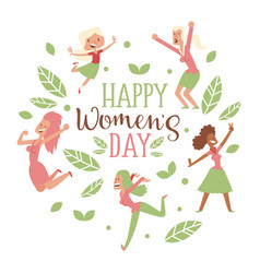 Happy womens day typography card isolated women vector