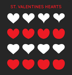 hearts icons set st valentines day february can vector image