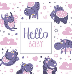 Hello babanner template poster card backdrop vector