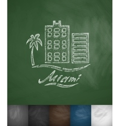 House Miami icon Hand drawn vector