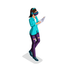 isometric teenager stylish student uses hi tech vector image
