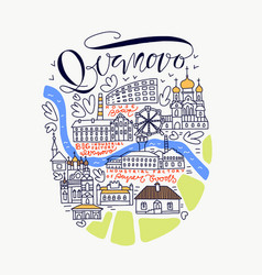 Ivanovo city doodle map vector