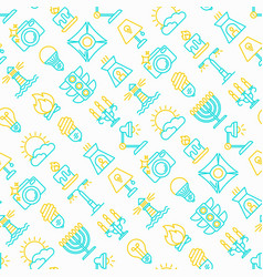 lighting seamless pattern with thin line icons vector image