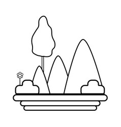 Line mountains with plants with flowers and trees vector