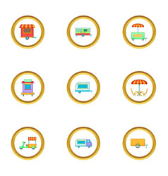 Market stall icons set cartoon style vector