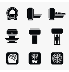 Medical MRI scanner diagnostic icons vector