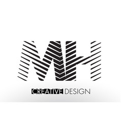 mh m h lines letter design with creative elegant vector image