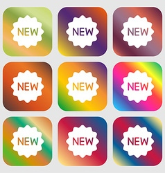 New Icon sign Nine buttons with bright gradients vector image