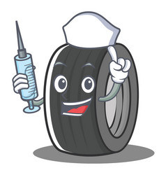 Nurse tire character cartoon style vector
