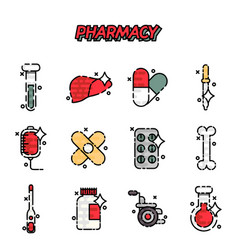 pharmacy cartoon concept icons vector image