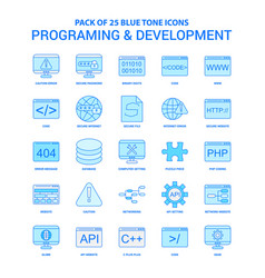 Programming and developement blue tone icon pack vector