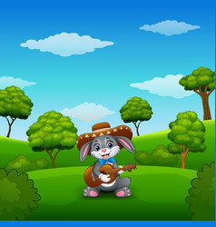 Rabbit mexican relax playing guitar and singing in vector