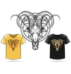 Ram skull print design vector