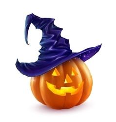 Realistic Halloween pumpkin in violet witch vector image