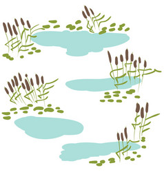 Reeds with pond icon set vector