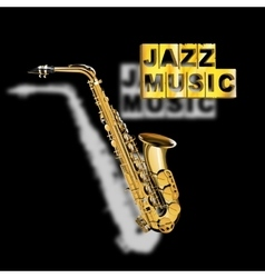 saxophone jazz music with a blurred shadow vector image