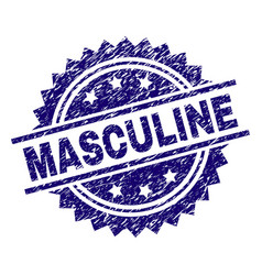 Scratched textured masculine stamp seal vector