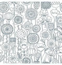 Seamless black and white floral pattern vector