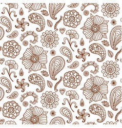Seamless pattern with henna tattoo set vector