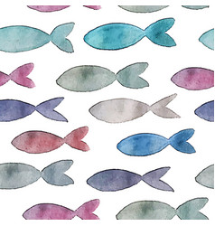 seamless pattern with watercolor fish vector image