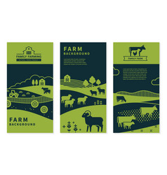 Set banners on rural themes farm vector