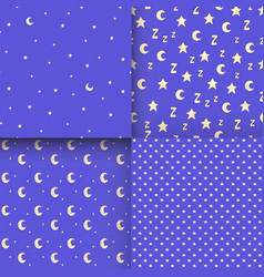 Set of seamless patterns with cartoon stars and vector
