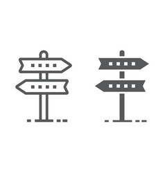 Signpost line and glyph icon development 10 vector