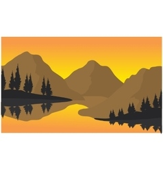 Silhouette of three moountain vector
