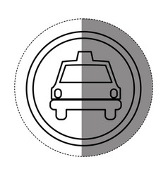 Silhouette symbol taxi front car icon vector