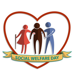Social welfare day flat symbol sign with old man vector