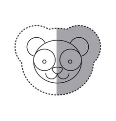 Sticker of grayscale contour with face of panda vector