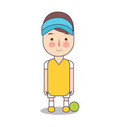 Tennis game athlete with ball sport man avatar vector