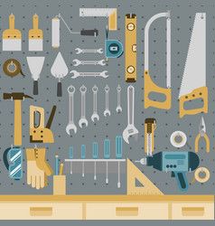 Tools on peg board vector