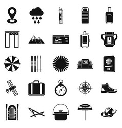 tourist assistance icons set simple style vector image